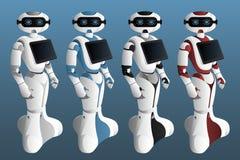 Ajuste dos robôs realísticos com tabuleta digital ilustração do vetor