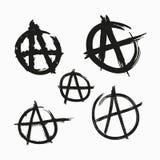 Ajuste dos símbolos da anarquia Pintado com as escovas ásperas do grunge Ilustração do vetor ilustração do vetor