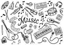 Ajuste dos símbolos e dos ícones musicais Piano dos cilindros da guitarra, ferramentas criativas e passatempos Esboço do esboço d ilustração do vetor