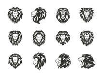Ajuste dos símbolos heráldicos pretos do leão no fundo branco ilustração do vetor