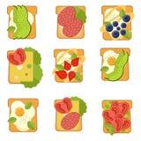 Ajuste dos sanduíches com ingredientes diferentes Brinde com abacate, salame, queijo, salmão, bagas, morango, figo Alimento saudá ilustração stock