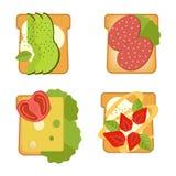 Ajuste dos sanduíches com ingredientes diferentes Brinde com abacate, salame, queijo, salmão, bagas, morango, figo Alimento saudá ilustração royalty free