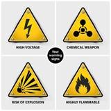 Ajuste dos sinais de aviso amarelos ilustração stock