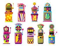 Ajuste dos slots machines coloridos, afortunado, casino da cidade do ouro ilustração stock