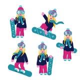 Ajuste dos snowboarders lisos dos desenhos animados do vetor que montam e que saltam ilustração stock