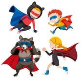 Ajuste dos super-herói diferentes ilustração do vetor
