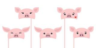 Ajuste dos suportes diferentes da cabine da foto da parte com porcos dos desenhos animados ilustração do vetor
