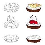 Ajuste dos tartlets doces com coberturas diferentes ilustração do vetor