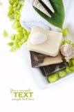 Ajuste dos termas com sabões e champô naturais Fotos de Stock