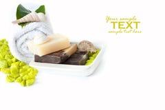 Ajuste dos termas com sabões e champô naturais Imagens de Stock