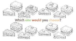 Ajuste dos tipos diferentes de sanduíches do vetor esboço ilustração stock