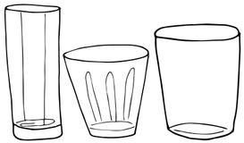 Ajuste dos vidros de tiragem do álcool da mão para o uísque, as bebidas e os cocktail Ilustra??o da garatuja do vetor ilustração stock