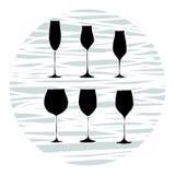 Ajuste dos vidros de vinho, vetor ilustração stock