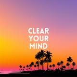 Ajuste el fondo borroso - colores de la puesta del sol con cita de la motivación ilustración del vector