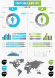 Ajuste elementos do infographics. O mapa de mundo e informa Imagem de Stock Royalty Free