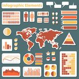 Ajuste elementos do infographics vermelhos e amarelos Foto de Stock Royalty Free