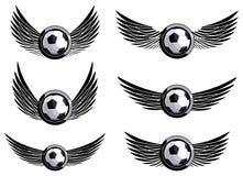Ajuste emblemas do futebol fotografia de stock royalty free
