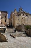 Ajuste en la ciudad vieja Calvi en la isla Córcega, Francia Foto de archivo