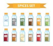 Ajuste especiarias em uns frascos, estilo liso Grupo das especiarias diferentes, ervas em um frasco de vidro ilustração stock