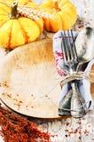 Ajuste estacional de la tabla con las calabazas decorativas Fotografía de archivo libre de regalías