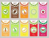 Ajuste etiquetas do fruto, emblema Molde para seu projeto Ilustração do vetor Imagens de Stock