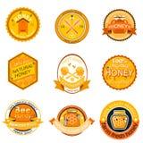 Ajuste etiquetas do logotipo da abelha para a ilustração saudável doce natural do vetor do alimento da qualidade de produto da ex ilustração do vetor
