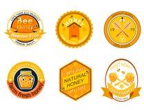 Ajuste etiquetas do logotipo da abelha para a ilustração saudável doce natural do vetor do alimento da qualidade de produto da ex ilustração stock