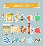 Ajuste etiquetas dos ícones no ano novo judaico, Rosh Hashanah, Shana Tova Estilo liso das etiquetas dos ícones dos desenhos anim Imagem de Stock Royalty Free