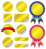 Ajuste etiquetas e fitas luxuosas do ouro Imagem de Stock Royalty Free