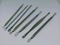 Ajuste ferramentas de aço inoxidável dos cuidados com a pele da cara da agulha da acupuntura da acne das ferramentas do removedor imagens de stock royalty free