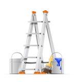 Ajuste ferramentas do pintor ilustração stock