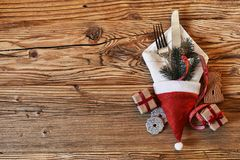 Ajuste festivo da tabela do feriado do Natal Fotos de Stock