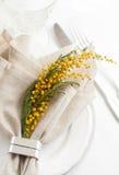 Ajuste festivo de la mesa de comedor de la primavera Fotografía de archivo