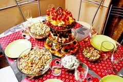 Ajuste festivo hermoso de la tabla Foto de archivo