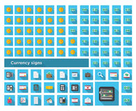 Ajuste a finança da cor dos ícones e ajuste o símbolo de moeda Imagem de Stock Royalty Free