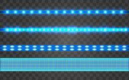 Ajuste a fita azul realística do diodo emissor de luz em um fundo transparente ilustração royalty free
