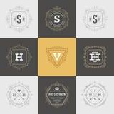 Ajuste flourishes luxuosos do molde dos logotipos caligráficos Imagens de Stock