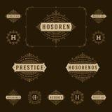 Ajuste flourishes luxuosos do molde dos logotipos caligráficos Fotografia de Stock Royalty Free