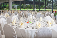 Ajuste formal da tabela Decoração da tabela de banquete Foto de Stock Royalty Free