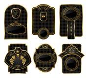 Ajuste frames decorativos do preto-ouro Fotografia de Stock