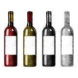 Ajuste frascos de vinho Garrafas de vinho vermelho e branco no fundo branco Ilustração do vetor Fotografia de Stock