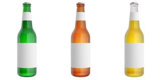 Ajuste garrafas de cerveja com etiqueta vazia Imagem de Stock Royalty Free