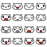 Ajuste gatinhos de Emoji dos ícones com ilustração diferente do vetor das emoções ilustração royalty free