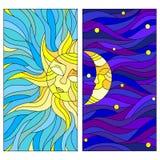 Ajuste a ilustração abstrata do vitral com lua e sol no céu Imagem de Stock