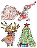 Ajuste a ilustração do vetor pelo Natal e o ano novo Fotografia de Stock Royalty Free