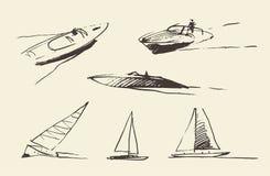 Ajuste a ilustração tirada esboços do vetor dos barcos Fotos de Stock Royalty Free