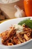 Ajuste italiano de la comida con las pastas Imagen de archivo