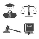 Ajuste a lei e a justiça dos ícones Imagem de Stock Royalty Free