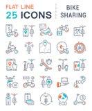 Ajuste a linha ícones do vetor de partilha da bicicleta ilustração do vetor