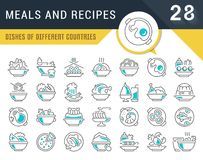 Ajuste a linha ícones do vetor de refeições e de receitas ilustração stock